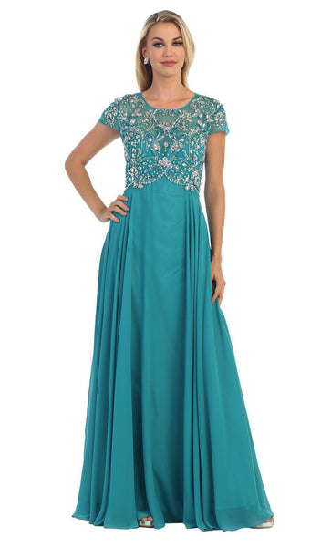 Bejeweled Cap Sleeve Illusion Scoop Evening Dress - ADASA