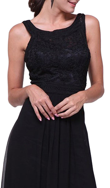Lace Embroidered Bateau Neck Sheath Dress