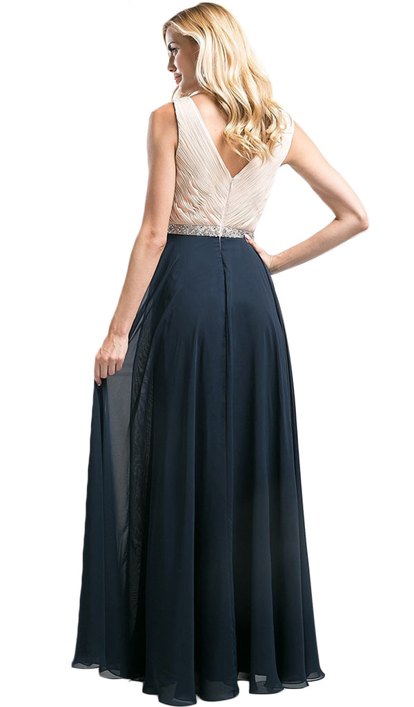 Shirred Surplice Bodice Cascading A-Line Evening Gown