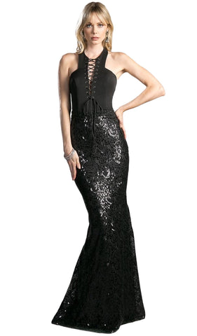 Sleeveless Sequined Sheath Evening Gown