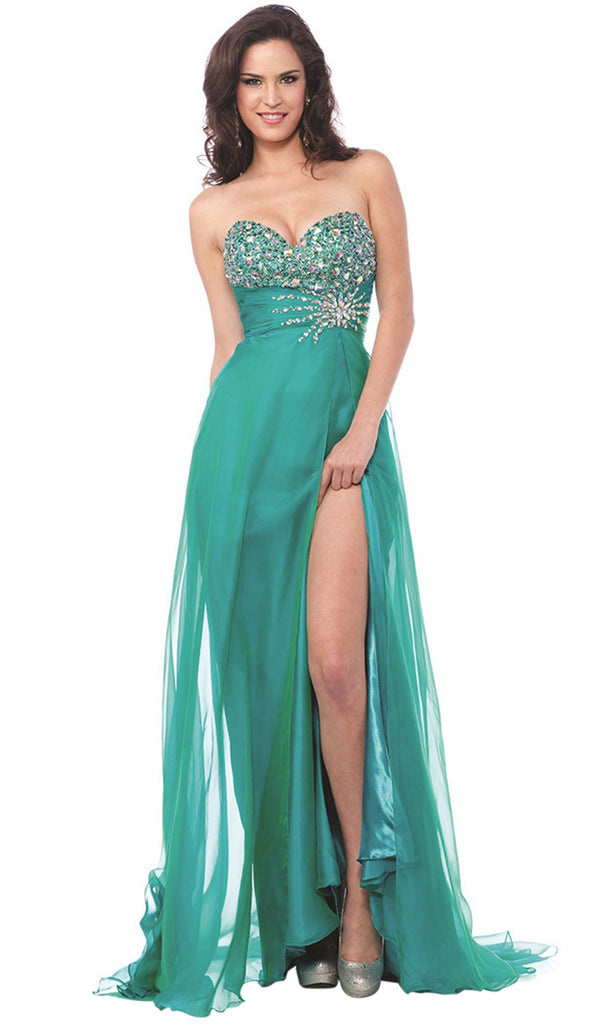 Jewel Ornate Strapless Sweetheart High Slit Gown