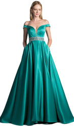 Two Piece Illusion Bateau Evening Ballgown