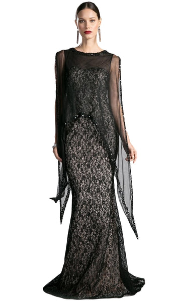 Illusion Cape Lace Sheath Evening Gown