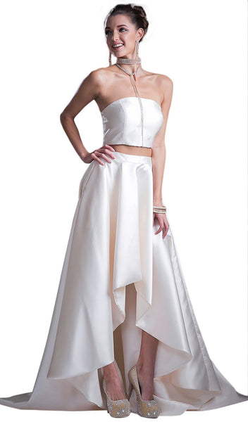 Two-piece Strapless High Low Evening Gown