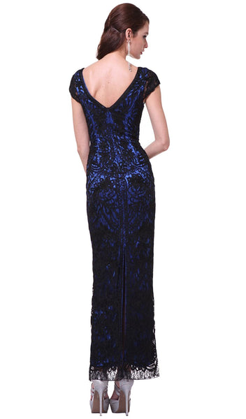 V-neck Lace Overlay Sheath Evening Gown