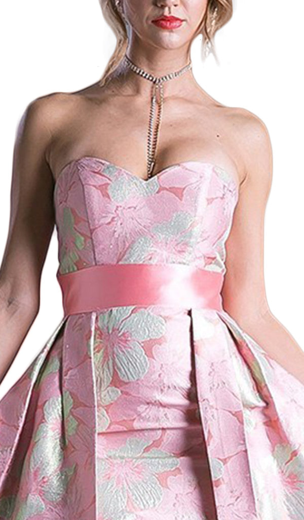 Strapless Floral Evening Gown