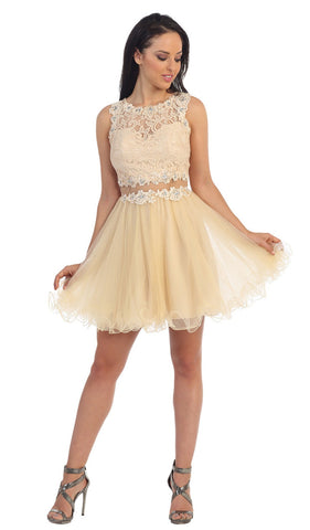 Bejeweled Lace Illusion Short Prom Dress - ADASA