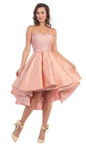 Strapless High-Low Pleated Cocktail Dress