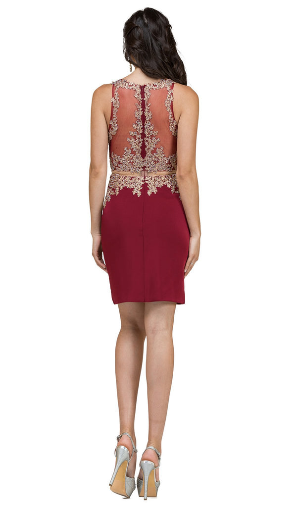 Mock Two-Piece Illusion Lace Cocktail Dress