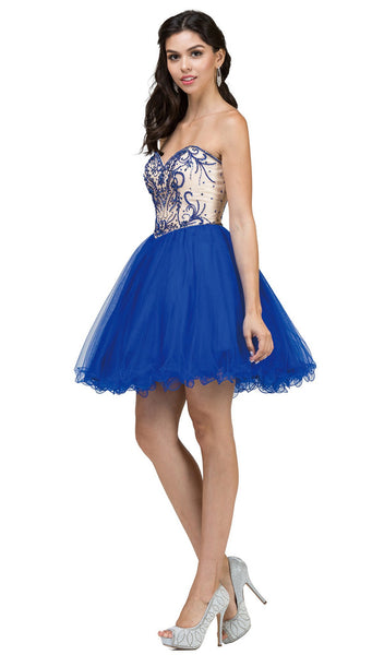 Ornamented Sweetheart Bodice Cocktail Dress