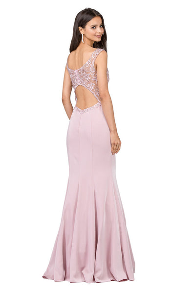 Embroidered Sheer Mermaid Prom Dress