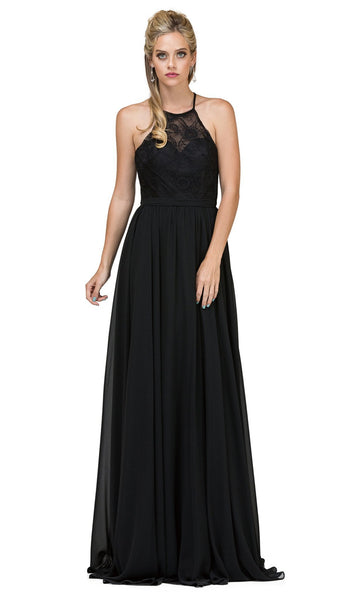 Sheer Halter Pleated A Line Evening Dress