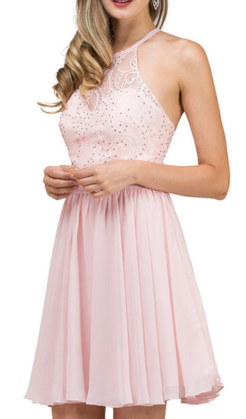 Lace Illusion Halter A-Line Cocktail Dress