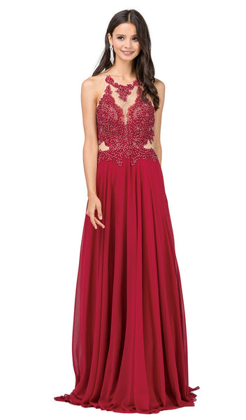 Lace Illusion High Halter A-Line Prom Gown