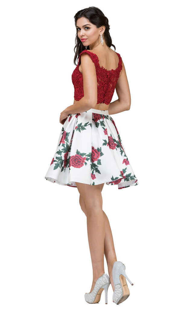 Two-Piece Floral Print Cocktail Dress
