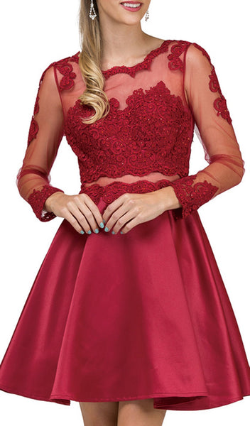 Beaded Sheer Long Sleeves Homecoming Dress