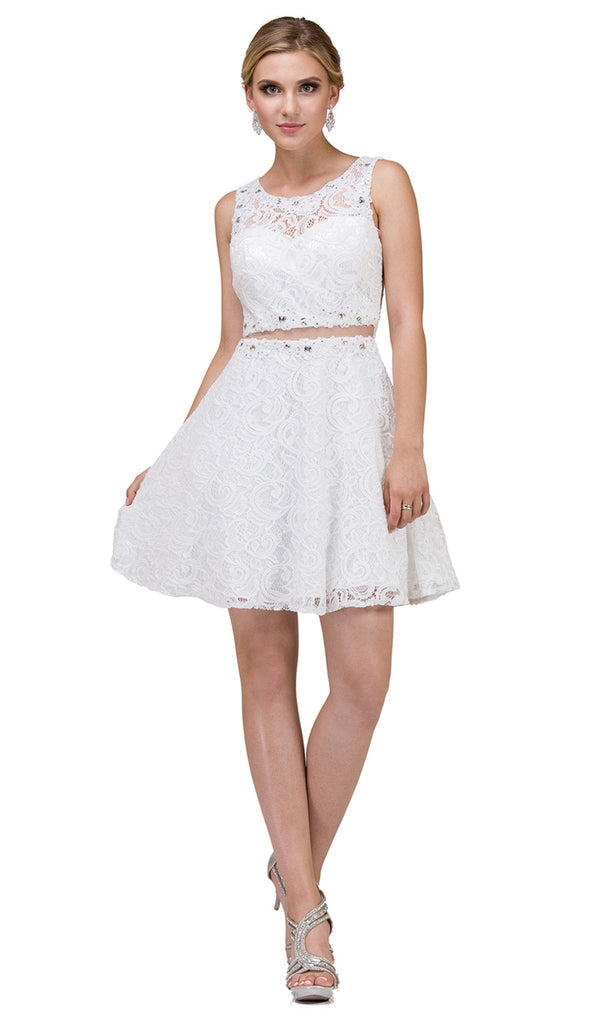 Two Piece Beaded Lace Cocktail Dress