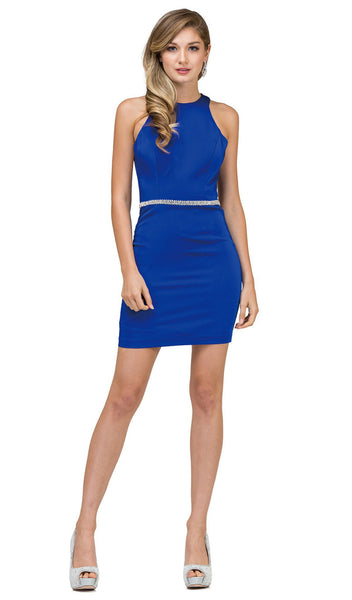 Jeweled Waist Sheath Cocktail Dress