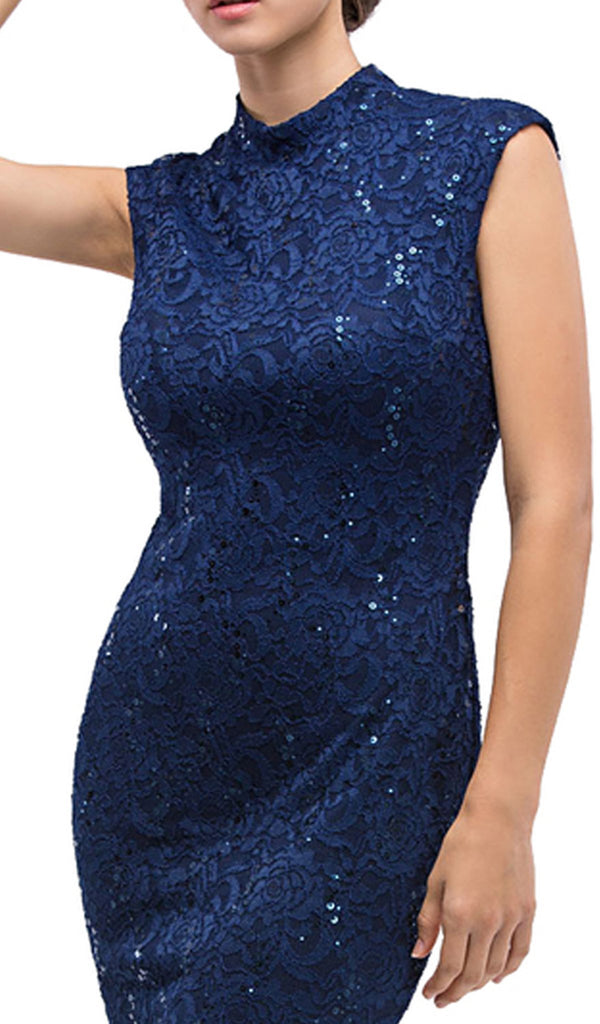 Fitted Sequined Lace Cocktail Dress