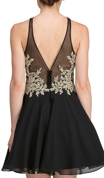 Strapless Gilded Lace Cocktail Dress