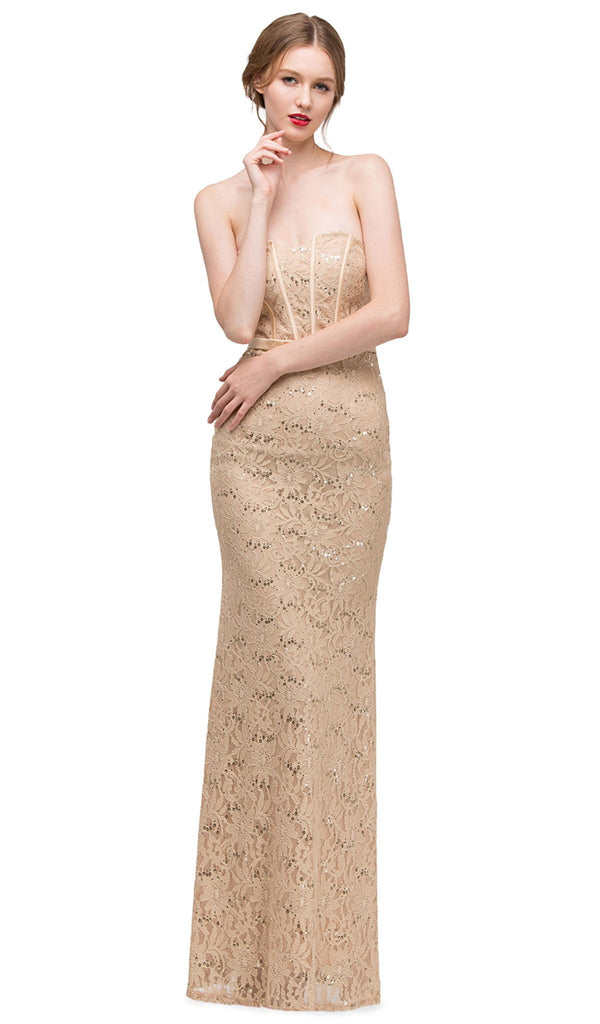 Strapless Corset Bodice Lace Sheath Evening Gown