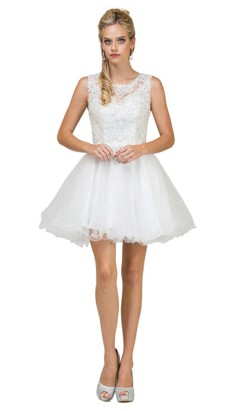 Jewel Sprinkled Illusion Cocktail Dress