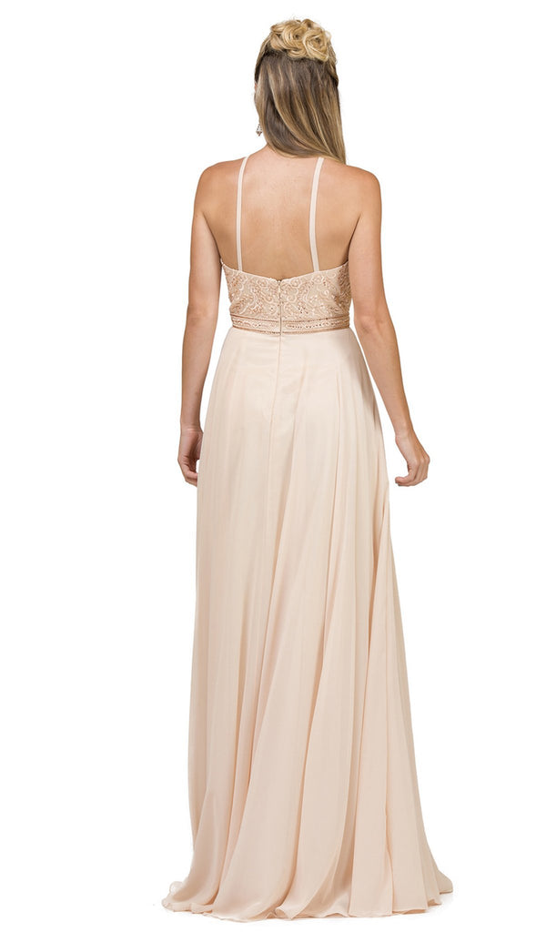 Embroidered Halter A-Line Evening Gown