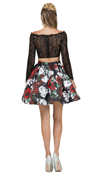 Two Piece Lace Floral Printed Cocktail Dress