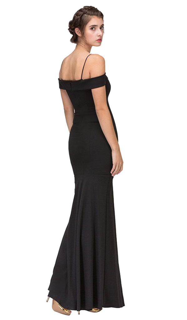 Off-Shoulder Notched Foldover Sheath Evening Gown