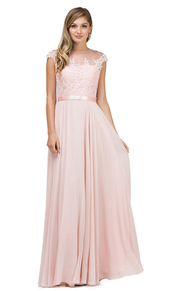 Sheer Floral A Line Evening Gown