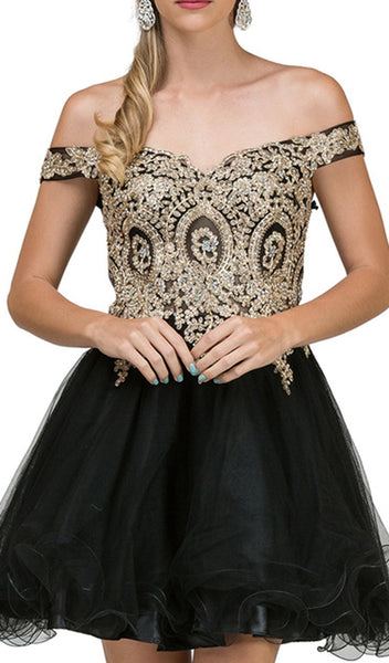Off Shoulder Embellished Cocktail Dress