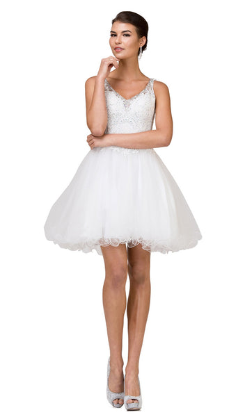Appliqued Fitted V-Neck Homecoming Dress