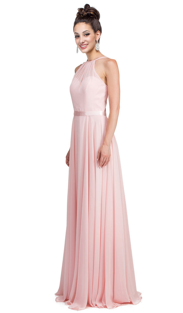 Illusion High Halter Chiffon A-Line Prom Gown