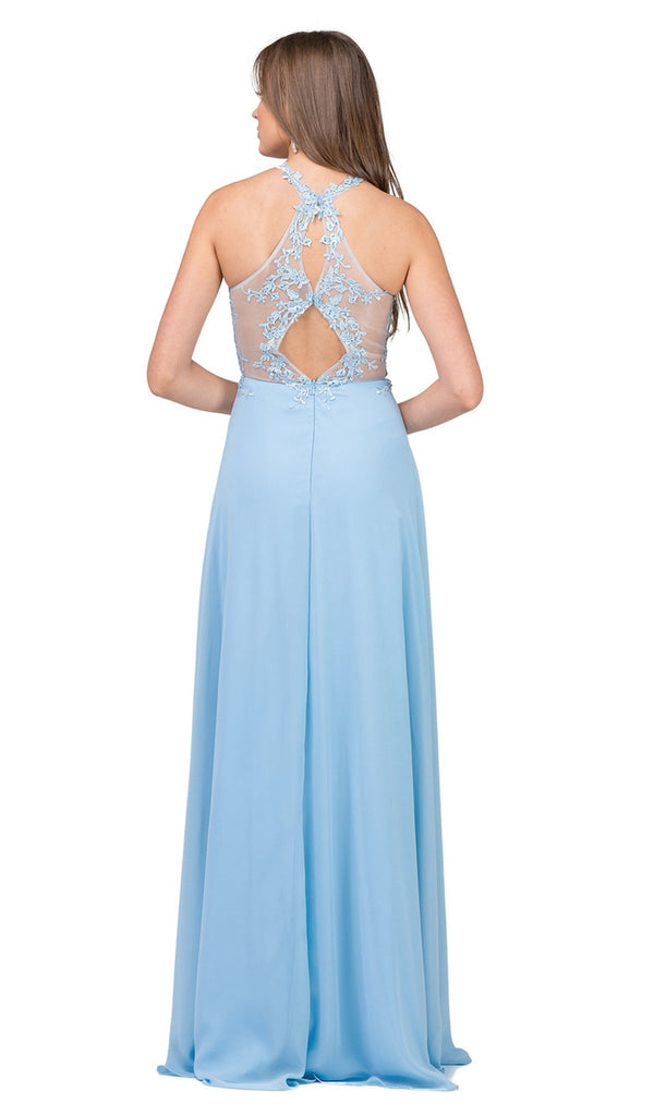 Embroidered Halter Chiffon Prom Dress
