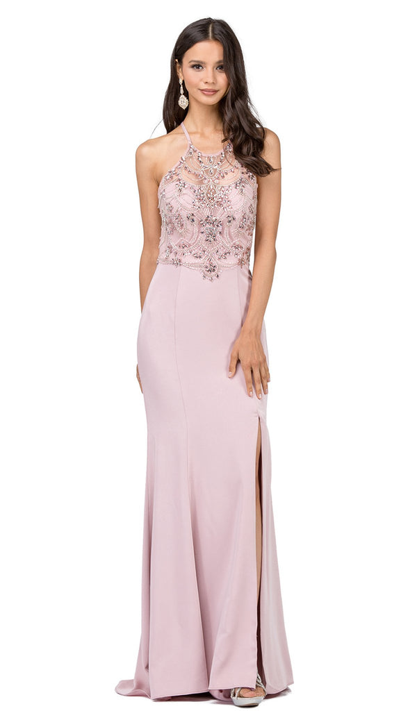 Jeweled Garland Motif Illusion Sheath Prom Gown