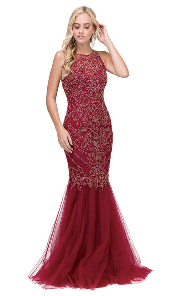 Beaded Halter Neck Trumpet Prom Dress - ADASA