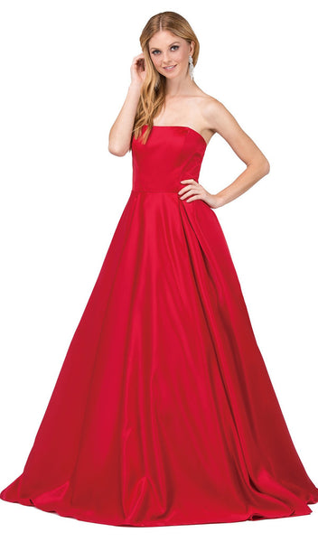Strapless Straight-Across Pleated Prom Ballgown