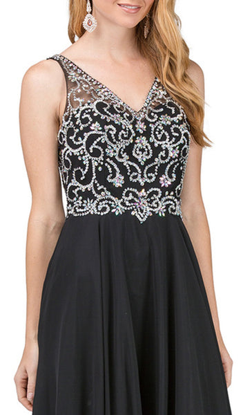 Bejeweled V-neck A-line Prom Dress - ADASA