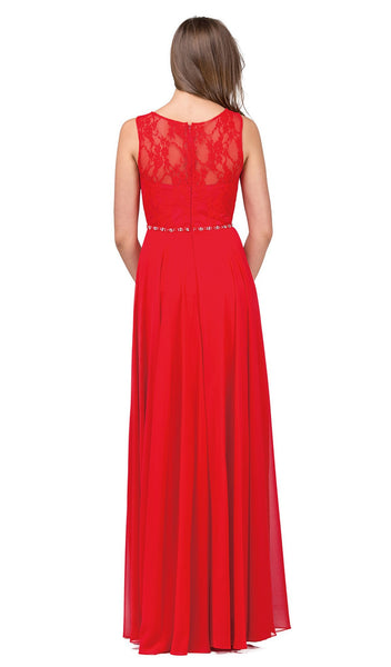 Bejeweled Lace Illusion A-Line Prom Gown - ADASA