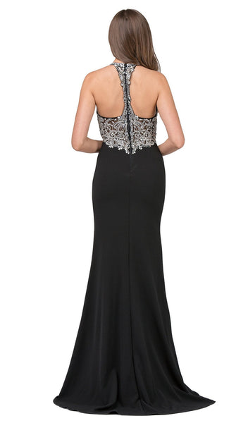 Beaded Fitted Halter Prom Dress with Slit - ADASA