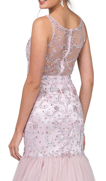 Illusion Bateau Crystal Adorned Trumpet Prom Gown