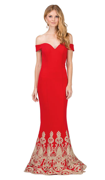 Off Shoulder Fitted Appliqued Mermaid Prom Dress