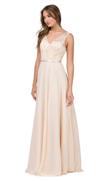 Sleeveless Scalloped Lace Illusion Prom Gown
