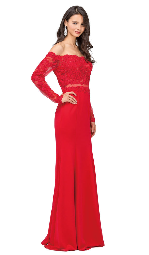 Long Sleeve Scalloped Off Shoulder Prom Gown