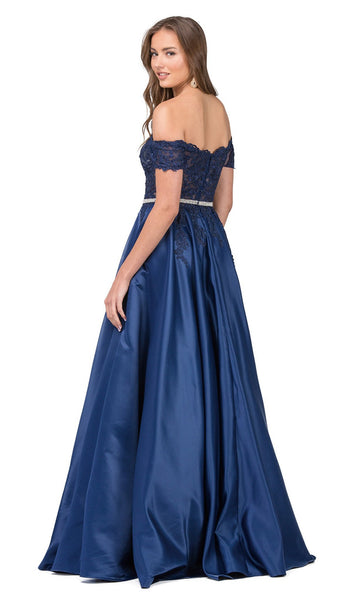 Embroidered Scalloped Off Shoulder Prom Gown