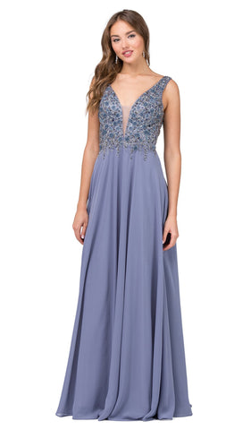 Floral Beaded Deep V-neck A-line Prom Dress