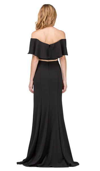 Two Piece Ruffled Off-Shoulder Sheath Prom Dress