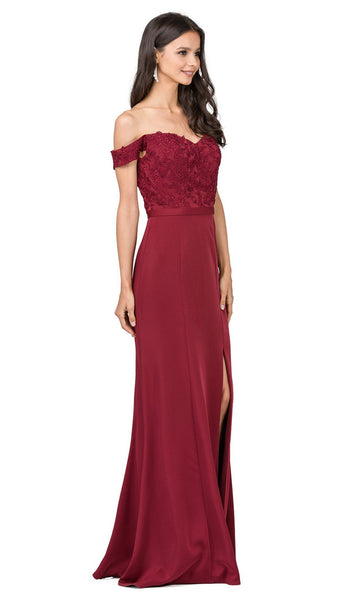 Off-Shoulder Embroidered Prom Dress with Slit
