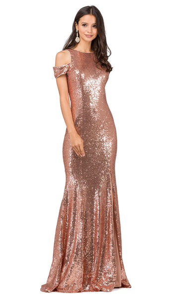 Fitted Cold Shoulder Prom Dress