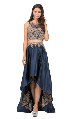 Two Piece Gilded Jewel High Low A-line Prom Dress